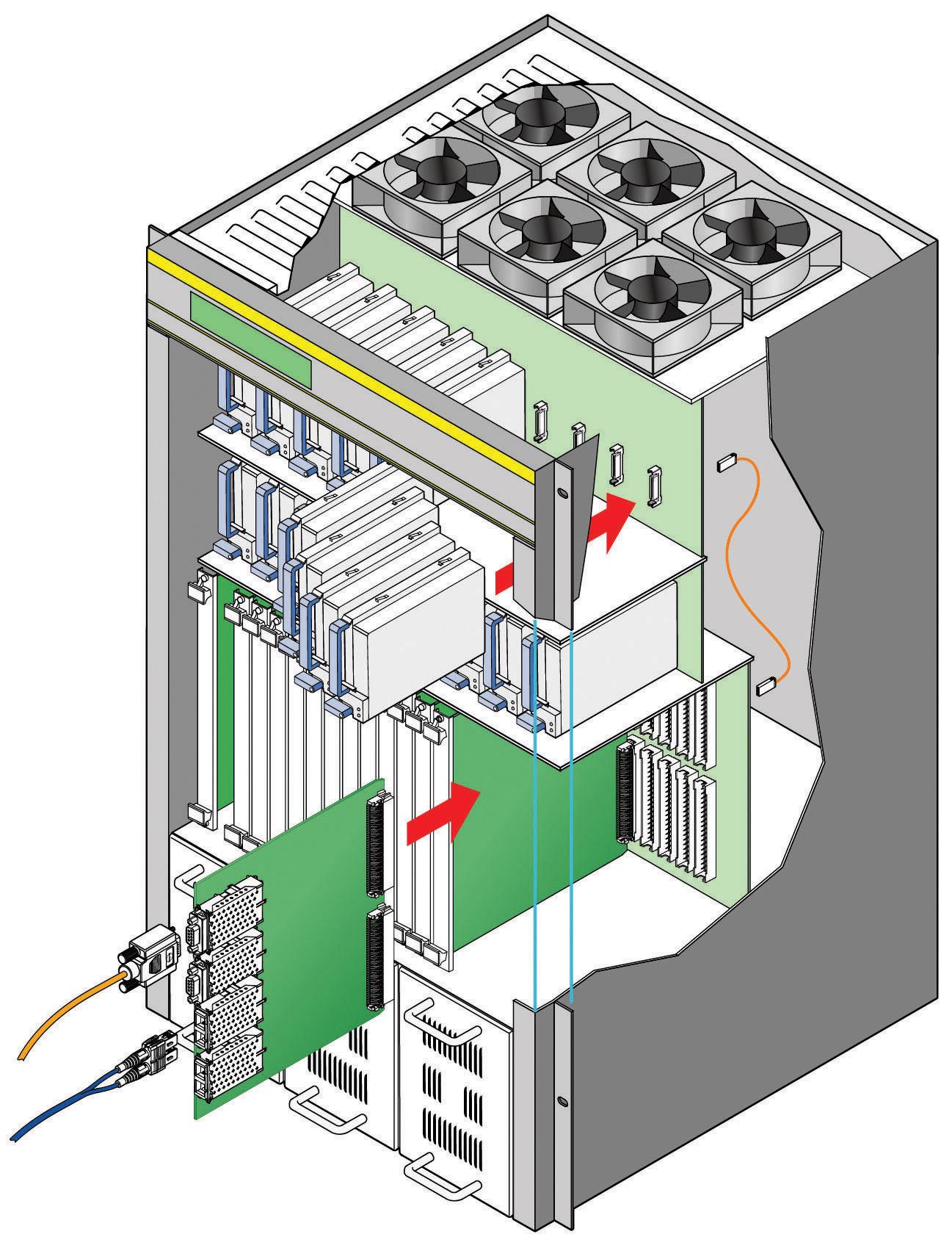 Рис. 1. Типовая конструкция сервера с промежуточными платами