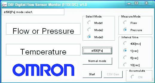 Рис. 8. Интерфейс выбора режима датчика и регистрации результатов измерения