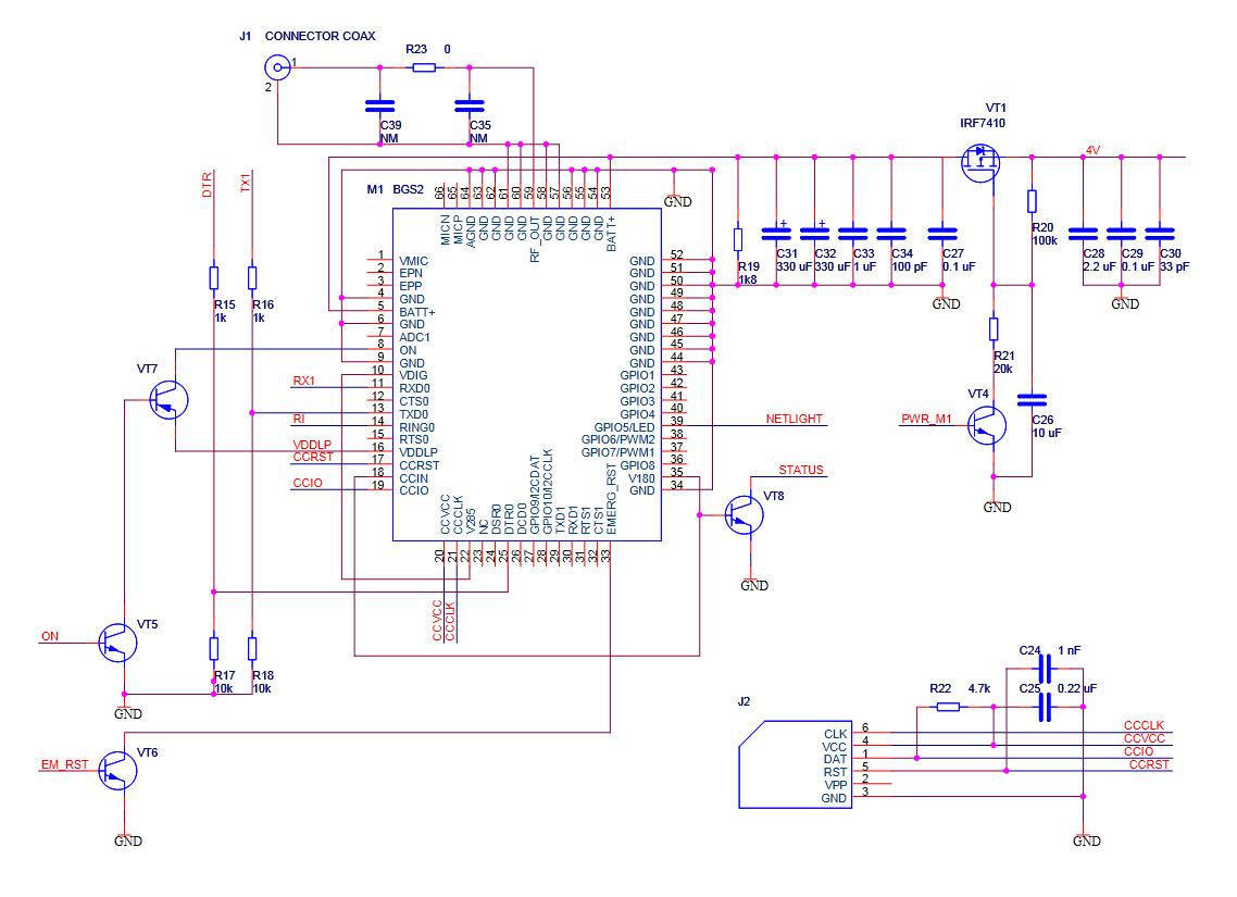 gsm модуль схема: